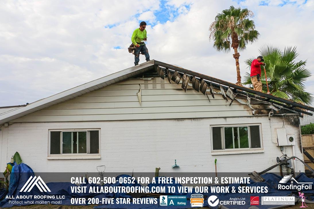 Fire Damaged Roof Sheathing Repair Glendale