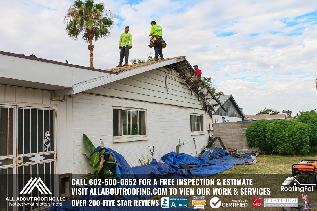 Fire Damaged Roof Sheathing Repair Surprise