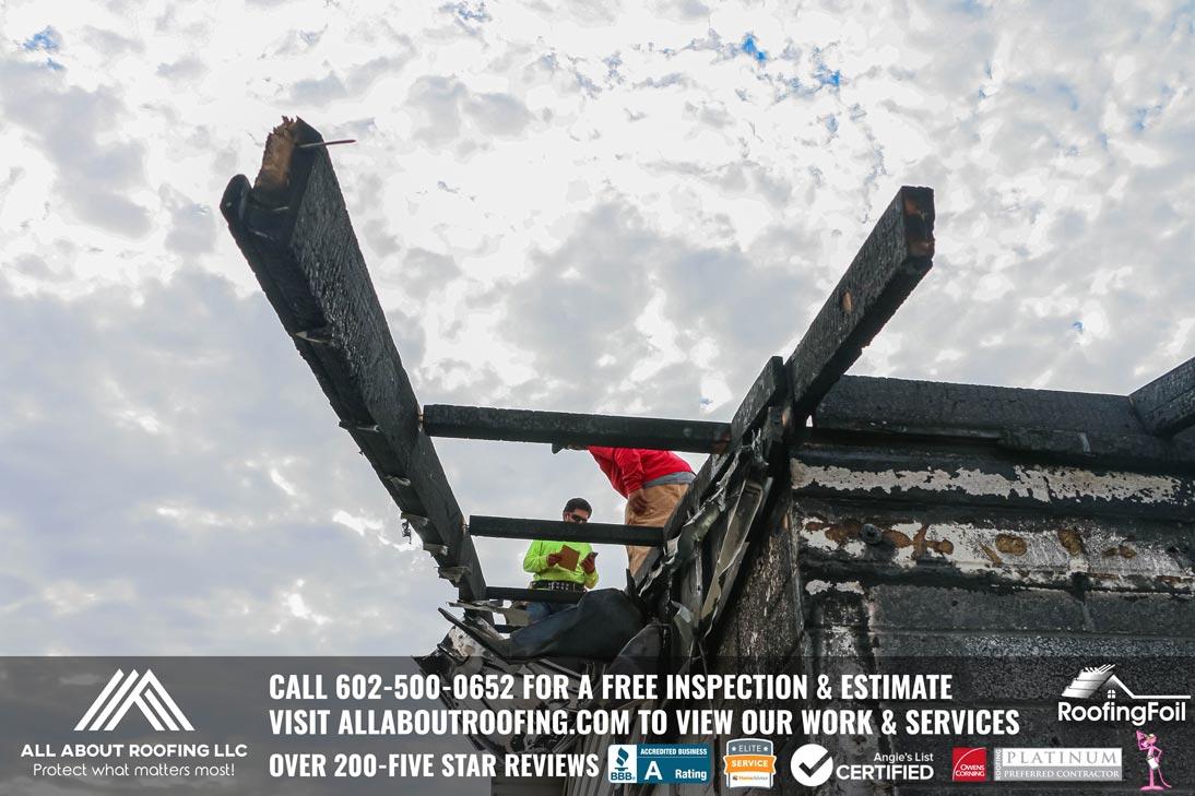 Fire Damaged Roof Sheathing Repair